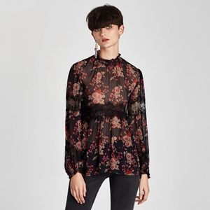 Zara Printed Blouse with Lace Detail
